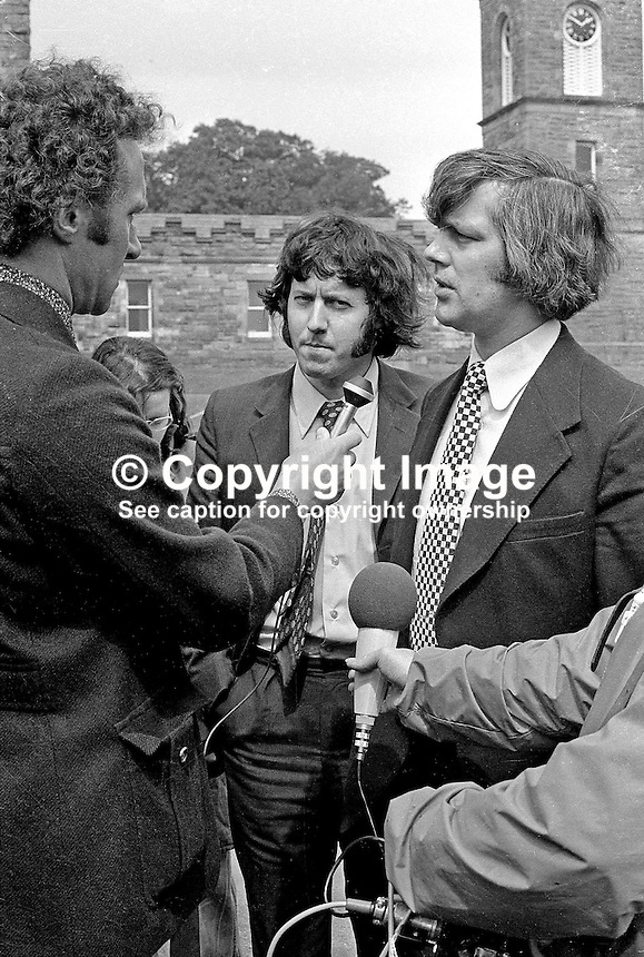 Glenn Barr, chairman (right), and Jim Smyth, press officer, both of the Ulster Workers' Council, speak to the media following their meeting with Merlyn Rees, the Secretary of State for N Ireland, at Stormont Castle. 197408070434-7A<br />