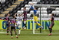 Leeds United's goalkeeper Illan Meslier cuts out a cross <br /> <br /> Photographer Andrew Kearns/CameraSport<br /> <br /> The EFL Sky Bet Championship - Swansea City v Leeds United - Sunday 12th July 2020 - Liberty Stadium - Swansea<br /> <br /> World Copyright © 2020 CameraSport. All rights reserved. 43 Linden Ave. Countesthorpe. Leicester. England. LE8 5PG - Tel: +44 (0) 116 277 4147 - admin@camerasport.com - www.camerasport.com