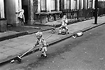 Kids playing in the street. Cotham St SE17 Elephant and Castle London  England 1970.