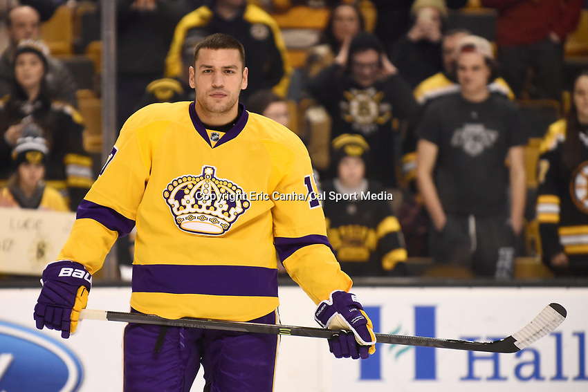 Tuesday, February 9, 2016: Los Angeles Kings left wing Milan Lucic (17) skates in warm-ups prior to the National Hockey League game between the Los Angeles Kings and the Boston Bruins, held at TD Garden, in Boston, Massachusetts. The Kings defeat the Bruins 9-2. Eric Canha/CSM