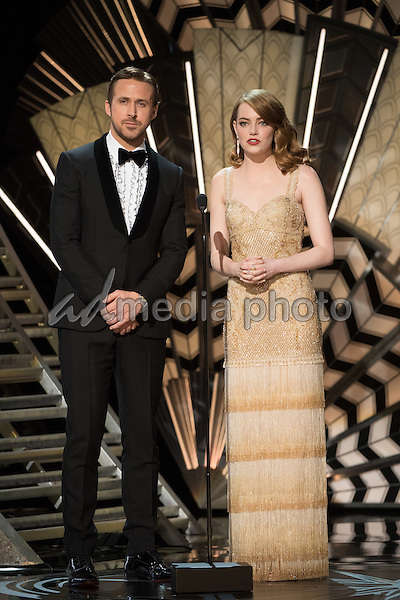 26 February 2017 - Hollywood, California - Ryan Gosling and Emma Stone. 89th Annual Academy Awards presented by the Academy of Motion Picture Arts and Sciences held at Hollywood & Highland Center. Photo Credit: AMPAS/AdMedia