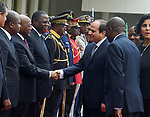 Egyptian President Abdel Fattah al-Sisi shakes hands with Gabon's officials upon his arrive to Libreville the capital of Gabon, on August 16, 2017. Photo by Egyptian President Office