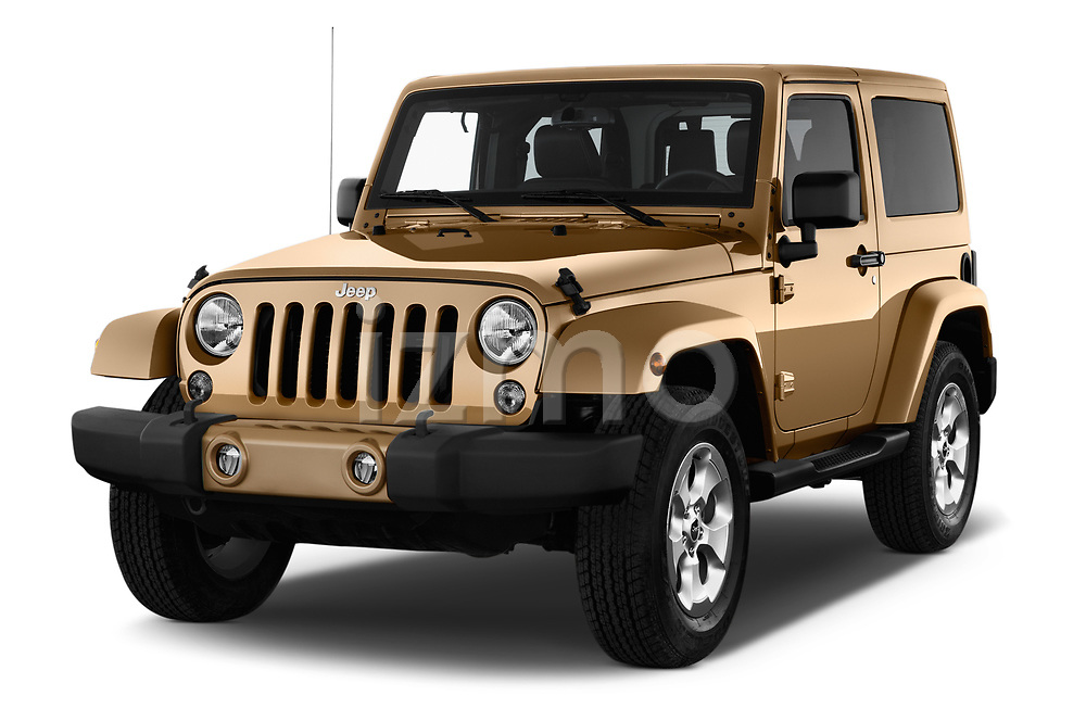 2017 JEEP wrangler Sahara 5 Door SUV Angular Front stock photos of front three quarter view