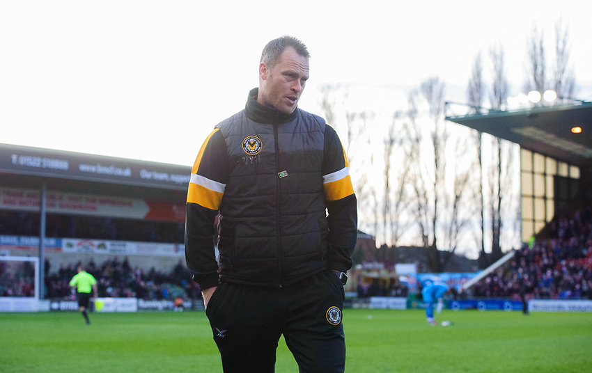 Newport County manager Michael Flynn<br /> <br /> Photographer Chris Vaughan/CameraSport<br /> <br /> The EFL Sky Bet League Two - Lincoln City v Newport County - Saturday 22nd December 201 - Sincil Bank - Lincoln<br /> <br /> World Copyright © 2018 CameraSport. All rights reserved. 43 Linden Ave. Countesthorpe. Leicester. England. LE8 5PG - Tel: +44 (0) 116 277 4147 - admin@camerasport.com - www.camerasport.com
