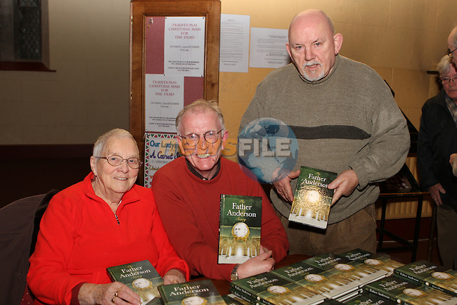 Ide Lenihan, Terry McHugh and John Monahan at the Book Launch in the Augustinian Church of the Biography of Augustinian Priest Fr.Anderson written by James Flynn...Photo NEWSFILE/Jenny Matthews..(Photo credit should read Jenny Matthews/NEWSFILE)