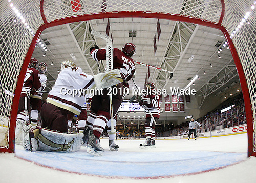 Michael Marcou (UMass - 22), Brian Dumoulin (BC - 2), John Muse (BC - 1), Justin Braun (UMass - 27), James Marcou (UMass - 19) - The Boston College Eagles defeated the University of Massachusetts-Amherst Minutemen 5-2 on Saturday, March 13, 2010, at Conte Forum in Chestnut Hill, Massachusetts, to sweep their Hockey East Quarterfinals matchup.