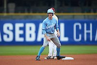 Brian Miller (5) of the North Carolina Tar Heels stands on second base against the Boston College Eagles in Game Five of the 2017 ACC Baseball Championship at Louisville Slugger Field on May 25, 2017 in Louisville, Kentucky. The Tar Heels defeated the Eagles 10-0 in a game called after 7 innings by the Mercy Rule. (Brian Westerholt/Four Seam Images)