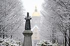 January 4, 2020; Main Quad during a snowfall (Photo by Matt Cashore/University of Notre Dame)