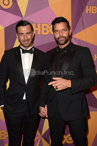 BEVERLY HILLS, CA - JANUARY 7: Jwan Yosef, Ricky Martin at the HBO Golden Globes After Party, Beverly Hilton, Beverly Hills, California on January 7, 2018. Credit: <br /> David Edwards/MediaPunch