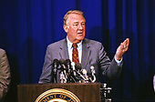 United States Attorney General Edwin Meese, III conducts a press conference to discuss the Department of Defense scandal and the Teamsters case at the US Department of Justice in Washington, DC on June 28, 1988.<br /> Credit: Ron Sachs / CNP