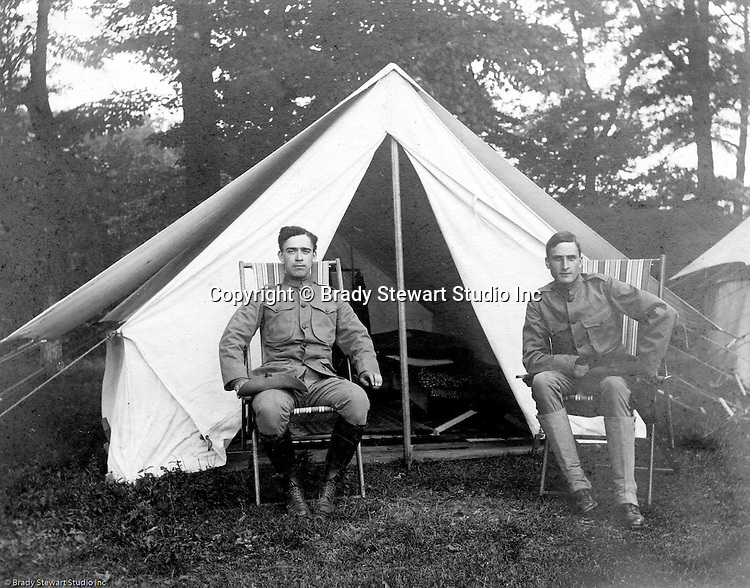 Gettysburg PA: View of McKeesport Boy's Brigade Captain and Lieutenant in front of their tent while camping at Gettysburg. Brady Stewart was in Gettysburg with the Pittsburgh-area Boy's Brigade. They were in Gettysburg for 40th anniversary of the battle of Gettysburg. The Boy's Brigade was a church-based youth organization started in the late 1800s in Scotland - 1903