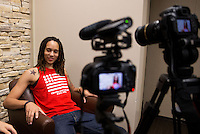 Jun. 10, 2013; Phoenix, AZ, USA: Phoenix Mercury center Brittney Griner is filmed during an interview with  at the US Airways Center. Mandatory Credit: Mark J. Rebilas-