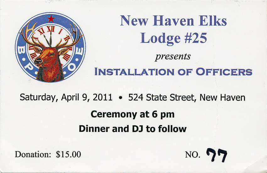 Ticket to the Installation of Officers