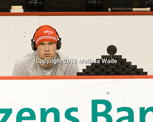 Patrick MacGregor (BU - 11) - The Boston University Terriers defeated the visiting Harvard University Crimson 5-2 on Saturday, January 15, 2011, at Agganis Arena in Boston, Massachusetts.