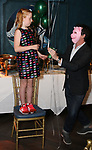 """Charlotte Wise and Craig Wesley Divino attends the Birthday Party Photo Call for the Wheelhouse Theater Company production of Kurt Vonnegut's """"Happy Birthday, Wanda June""""  on October 3, 2018 at Bond 45 Times Square in New York City."""