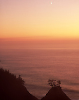Sunset, Crescent Moon, rugged Oregon Coast