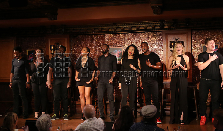 Dwayne Cooper, Alysha Umphrees, Kyle Taylor Parker, Dionne D. Figgins, John Edwards, Nicole Vanessa Ortiz, Jelani Remy, Emma Degerstedt and Max Sangerman during the Press Preview Presentation for the new production of 'Smokey Joe's Cafe' at Feinstein's/54 Below on June 27, 2018 in New York City.