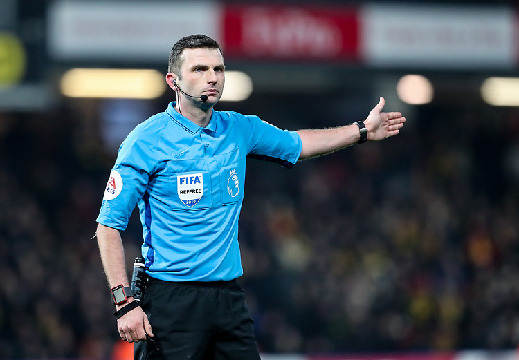 Referee Michael Oliver<br /> <br /> Photographer Andrew Kearns/CameraSport<br /> <br /> The Premier League - Watford v Burnley - Saturday 19 January 2019 - Vicarage Road - Watford<br /> <br /> World Copyright &copy; 2019 CameraSport. All rights reserved. 43 Linden Ave. Countesthorpe. Leicester. England. LE8 5PG - Tel: +44 (0) 116 277 4147 - admin@camerasport.com - www.camerasport.com