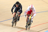 Picture by SWpix.com - 02/03/2018 - Cycling - 2018 UCI Track Cycling World Championships, Day 3 - Omnisport, Apeldoorn, Netherlands - Men's Sprint 1/16 - Ethan Mitchell of New Zealand and Damian Zielinski