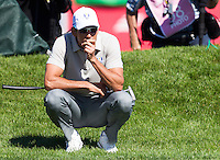 Raffa Cabrera-Bello (Team Europe) on the 18th green during the Saturday morning Foursomes at the Ryder Cup, Hazeltine national Golf Club, Chaska, Minnesota, USA.  01/10/2016<br /> Picture: Golffile | Fran Caffrey<br /> <br /> <br /> All photo usage must carry mandatory copyright credit (&copy; Golffile | Fran Caffrey)