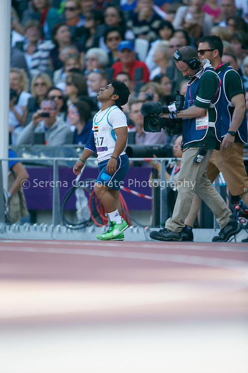 Iraq's Ahmed Naas celebrates as he breaks the world record in the men's F40 javelin (eventually finishing in second position overall)..London Paralympic Games - Athletics 7.9.12