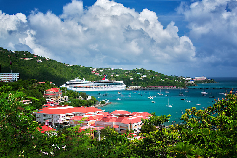 View of boat harbor in Charlotte Amalle. St. Thomas, US Virgin Islands.