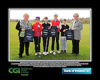 Bangor GC team with Bank of Ireland Officials Angela Callan and Heather Raney with Junior golfers from across Ulster practicing their skills at the regional finals of the Dubai Duty Free Irish Open Skills Challenge at The CAFRE Greenmount Campus in Antrim. 2/04/2016.<br /> Picture: Golffile | Fran Caffrey<br /> <br /> <br /> All photo usage must carry mandatory copyright credit (© Golffile | Fran Caffrey)