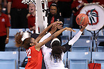 23 March 2015: North Carolina's Stephanie Mavunga (1) is guarded by Ohio State's Alexa Hart (22). The University of North Carolina Tar Heels hosted the Ohio State University Buckeyes at Carmichael Arena in Chapel Hill, North Carolina in a 2014-15 NCAA Division I Women's Basketball Tournament second round game. UNC won the game 86-84.