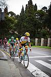 Primož Roglic of Lotto Jumbo leads the breakawayas it  climbs Montjuic, Barcelona, on the last stage of the Volta Catalunya 2016 cycling race. The leader, Nairo Quintana, successfully defending his jersey from Alberto Contador and Dan Martin.<br /> <br /> Primerž Roglic de Lotto Jumbo porta l'escapada a mesura que ascendeix Montju&iuml;c, Barcelona, en l'&uacute;ltima etapa de la cursa ciclista Volta Catalunya 2016. El l&iacute;der, Nairo Quintana, defensant amb &egrave;xit el seu mallot d'Alberto Contador i Dan Martin.El gran grup puja Montju&iuml;c, Barcelona, en l'&uacute;ltima etapa de la cursa ciclista Volta Catalunya 2016. El l&iacute;der, Nairo Quintana, defensant amb &egrave;xit el seu mallot d'Alberto Contador i Dan Martin.
