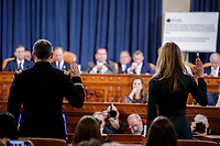 Special Advisor for Europe and Russia in the office of US Vice President Mike Pence, Jennifer Williams (R) and Director for European Affairs of the National Security Council, US Army Lieutenant Colonel Alexander Vindman (L) are sworn in prior to testifying during the House Permanent Select Committee on Intelligence public hearing on the impeachment inquiry into US President Donald J. Trump, on Capitol Hill in Washington, DC, USA, 19 November 2019. The impeachment inquiry is being led by three congressional committees and was launched following a whistleblower's complaint that alleges US President Donald J. Trump requested help from the President of Ukraine to investigate a political rival, Joe Biden and his son Hunter Biden.<br /> Credit: Shawn Thew / Pool via CNP/AdMedia