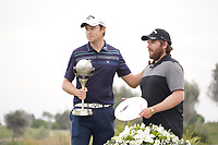 Steven Brown (ENG) and caddy Sam Matton during the presentation ceremony for the winner of the Portugal Masters 2019, Dom Pedro Victoria Golf Course, Vilamoura, Vilamoura, Portugal. 27/10/2019<br /> Picture Andy Crook / Golffile.ie<br /> <br /> All photo usage must carry mandatory copyright credit (© Golffile | Andy Crook)