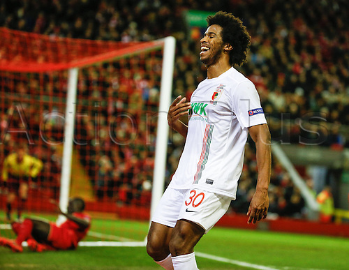 25.02.2016. Liverpool, England. UEFA Europa League game between Liverpool FC and Augsburg.  Caiuby Francisco da Silva (FC Augsburg 30)  upset at his close miss