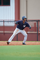 GCL Yankees East Kevin Alcantara (30) leads off during a Gulf Coast League game against the GCL Phillies West on August 3, 2019 at the Carpenter Complex in Clearwater, Florida.  The GCL Phillies West defeated the GCL Yankees East 15-7 in a completion of a game that was originally started on July 26, 2019.  (Mike Janes/Four Seam Images)