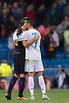 Cristiano Ronaldo of Real Madrid (R) talks with Harry Kane of Tottenham Hotspur FC  (L) after the UEFA Champions League 2017-18 match between Real Madrid and Tottenham Hotspur FC at Estadio Santiago Bernabeu on 17 October 2017 in Madrid, Spain. Photo by Diego Gonzalez / Power Sport Images