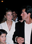 Sly Stallone with Jennifer Flavin and son Sage Stallone.in Los Angeles, California..September 1988.