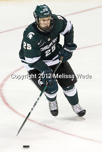 Brent Darnell (MSU - 25) - The Union College Dutchmen defeated the Michigan State University Spartans 3-1 in their NCAA East Regional semifinal on Friday, March 23, 2012, at the Webster Bank Arena in Bridgeport, Connecticut.