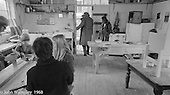 A.S.Neill and his dof leaving the carpentry workshop, Summerhill school, Leiston, Suffolk, UK. 1968.  The young lady in the background is Hassie Vogel, a fellow student of John Walmsley's at Guildford School of Art.