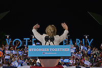 FT LAUDERDALE, FL - NOVEMBER 01: Democratic presidential nominee Hillary Clinton speaks to a crowd of 4,300 supporters during a campaign rally at Reverend Samuel Delevoe Memorial Park on November 1, 2016 in Ft Lauderdale, Florida. The presidential general general election is November 8. Credit: MPI10 / MediaPunch