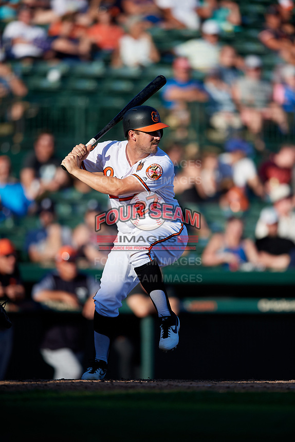 Baltimore Orioles catcher Andrew Susac (27) at bat during a Grapefruit League Spring Training game against the Detroit Tigers on March 3, 2019 at Ed Smith Stadium in Sarasota, Florida.  Baltimore defeated Detroit 7-5.  (Mike Janes/Four Seam Images)