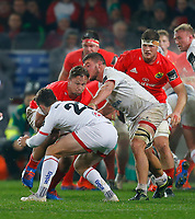9th November 2019; Thomond Park, Limerick, Munster, Ireland; Guinness Pro 14 Rugby, Munster versus Ulster; Arno Botha of Munster is tackled by Bill Johnston of Ulster - Editorial Use