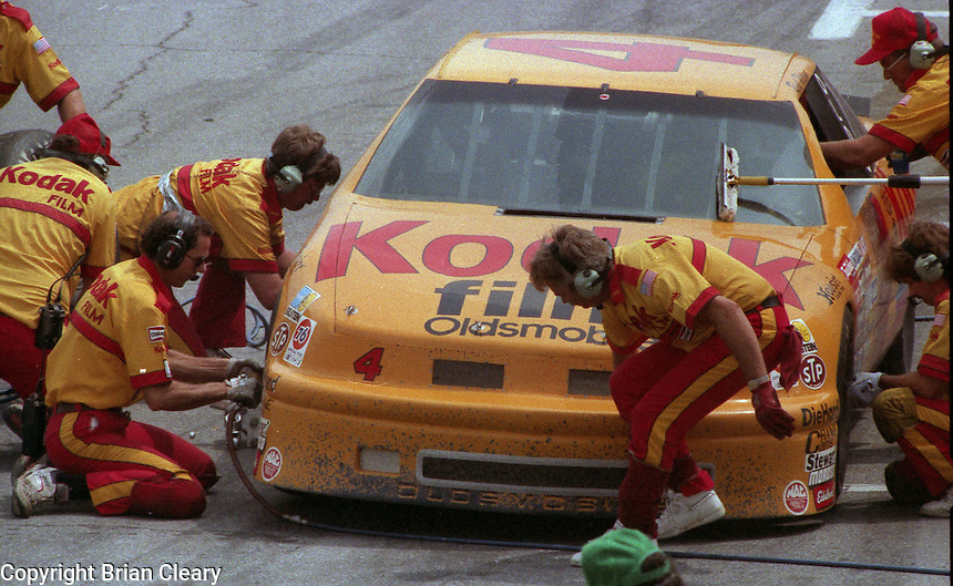 Rick Wilson pits pit road action Pepsi Firecracker 400 at Daytona International Speedway in Daytona Beach, FL in July 1988. (Photo by Brian Cleary/www.bcpix.com)
