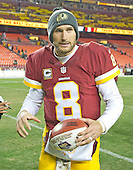 Washington Redskins quarterback Kirk Cousins (8) leaves the field following his team's 42 - 24 victory over the Green Bay Packers at FedEx Field in Landover, Maryland on Sunday, November 20, 2016. <br /> Credit: Ron Sachs / CNP