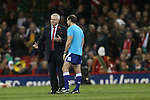 Wales coach Warren Gatland in discussion with referee Alain Rolland before kick off.<br /> <br /> 2013 Dove Men Series<br /> Wales v South Africa<br /> Millennium Stadium<br /> 09.11.13<br /> &copy;Steve Pope-Sportingwales