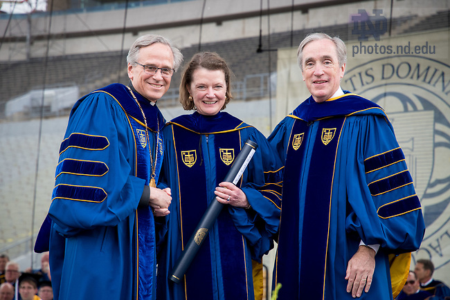May 21, 2017; Martha Lampkin Welborne receives an honorary degree at Commencement 2017. (Photo by Matt Cashore/University of Notre Dame)