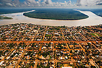Bolivia, Beni Department, aerial view of Riberalta at the confluence of Madre De Dios River and Beni River in the Amazon Basin