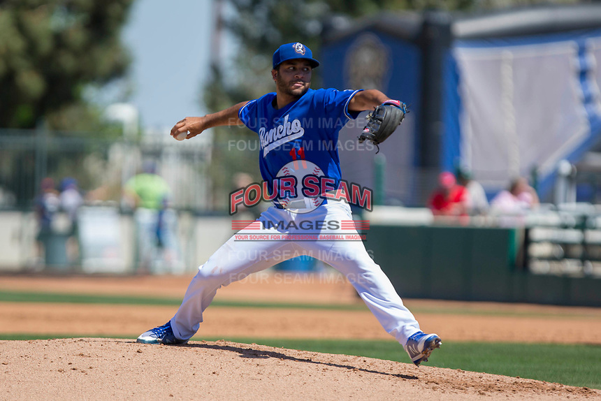 Rancho Cucamonga Quakes starting pitcher Jordan Sheffield (11) delivers a pitch to the plate against the Lake Elsinore Storm at LoanMart Field on April 22, 2018 in Rancho Cucamonga, California. The Storm defeated the Quakes 8-6.  (Donn Parris/Four Seam Images)