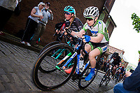 Picture by Alex Whitehead/SWpix.com - 14/05/2017 - Cycling - 2017 HSBC UK | National Women's Road Series - Lincoln Grand Prix - WNT's Lydia Boylan and Drops' Alice Barnes climb the Michaelgate cobbles.