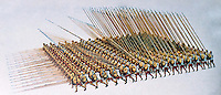 Greek Arms:  Formation of  Macedonian Pikemen.  Hoplites in close order, 16 deep.  Pike is 5-7 M long.