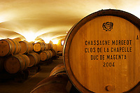 The old style vaulted barrel aging cellar with barriques pieces with maturing wine. Closeup close-up of a barrel stamped with Chassagne-Montrachet Clos de la Chapelle Duc de Magenta 2004, Maison Louis Jadot, Beaune Côte Cote d Or Bourgogne Burgundy Burgundian France French Europe European