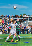 3 October 2015: University of Vermont Catamount Forward/Midfielder Stefan Lamanna, a Junior from Pickering, Ontario, battles Binghamton University Bearcat Backfielder Zach Galluzzo, a Junior from Ronkonkoma, NY, during game action at Virtue Field in Burlington, Vermont. The Catamounts were unable to complete a late game rally, falling to the Bearcats 2-1 in America East conference play. Mandatory Credit: Ed Wolfstein Photo *** RAW (NEF) Image File Available ***